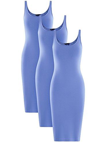 oodji Ultra Donna Abito Canotta (Pacco di 3) Blu (7502N)