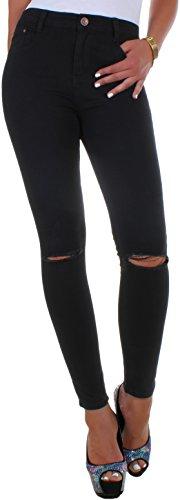 BD Hight Waist pantaloni Jeans tubo Jeans donna con strappi al ginocchio in nero, bianco o blu anche in taglie forti, fino alla taglia 52 nero XXXL/52