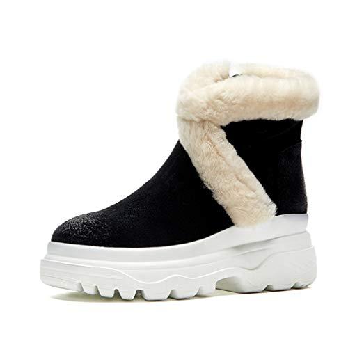 YAN Damen warme Stiefel Wildleder Plattform Booties hohe Freizeitstiefel Schnee Mode Stiefel Outdoor Wanderschuhe schwarz braun (Farbe : Schwarz, Größe : 34) -
