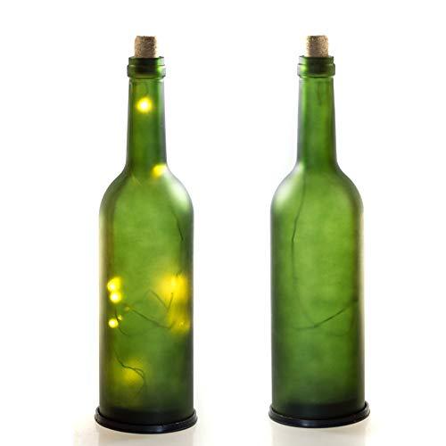LED Weinflasche- Glasflasche Satiniert, 10 LEDs, batteriebetrieben, in & Outdoor Geeignet. Flasche mit LED-Beleuchtung (1x Grün) ... - Ohne Wein-flaschen Boden