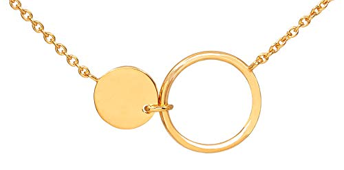 Pernille Corydon Damen Halskette Eon Gold Zwei runde Anhänger offener Kreis Platte längenverstellbar Silber 925 vergoldet - PCO-N215g
