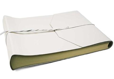 Album Photo Positano Grand Format Enveloppe Cuir Italien Fait-main Argile, Style Classique Pages (30cm x 24cm x
