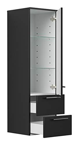 Black Hochschrank (emotion Hochschrank 120 cm schwarz seidenglanz mit Glaseinlagen)