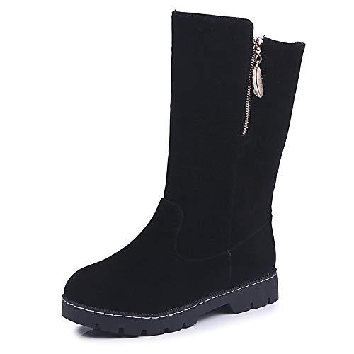 LoveLeiter Damen Mittlere Stiefel Shoes Frauen Winter Schnee Pelzstiefel Weihnachten Schuhe Warme Weiche Winterstiefel Runder Kopf Schneestiefel Hohe Rutschfeste Winterschuhe Boots(Schwarz,43)