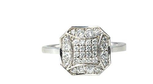 14ct weiße Runde Diamant Multi Stein achteckigen Pavee Set retro-Stil geschwungenen Pavillion Ring...