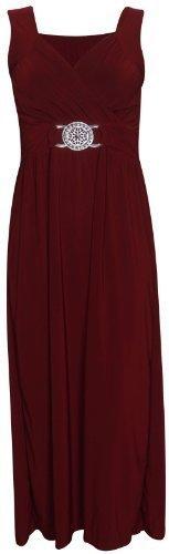 Damen Ärmellos Damen Cross Over Wrap Gürtelschnalle Rückenschnürung Verschluss Lang Maxi Kleid Übergröße - EU 52 / 54, Burgunder Rot (Crossover-mieder-kleid)