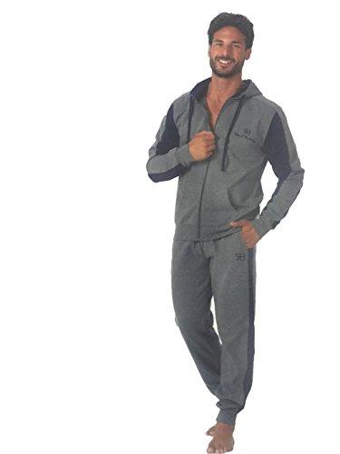 pigiama tuta tempo libero uomo RENATO BALESTRA cotone felpato con cappuccio e full zip art.RF84 (TG.XXL, GRIGIO)