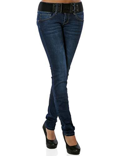 Damen Skinny Jeans Hose inkl. Gürtel DA 15963 Blau M / 38