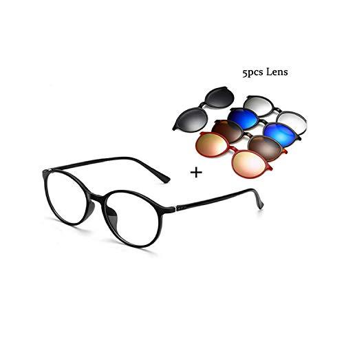 Sport-Sonnenbrillen, Vintage Sonnenbrillen, NEW Sunglasses WoMänner Männer Polarized Magnetic Clip Glasses Driving Clip On Sunglasses Magnet Myopia Glasses Frame With Case Glasses Add 5 Lens
