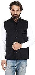River Hill Self Design Men Velvet Black Nehru Jacket/Waistcoat