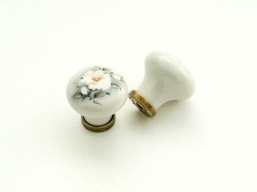 Porzellanknopf HIBISCUS creme 30 mm - Qualität aus Europa seit 1998