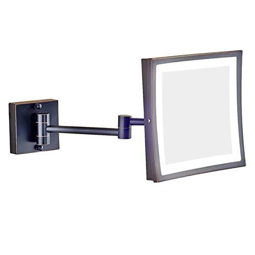 DGYAXIN Cuadrado Espejo Baño, con Luces Montaje Pared Plegable Espejo Maquillaje Led Iluminado 3 aumentos...