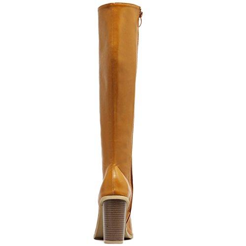 Oasap Damen Offen High Heels Gladiator Stiefeln Brown