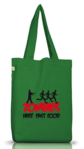 Shirtstreet24, ZOMBIES HATE FAST FOOD,Halloween Zombie Jutebeutel Stoff Tasche Earth Positive Moss Green