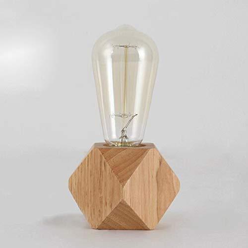REFURBISHHOUSELampe de table moderne e27 Lampe de bureau en bois Lampe de chevet de diamant pour decoration de maison/chambre a coucher/salon Ue-Prise Base en bois