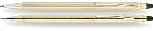 Cross Classic Century Kugelschreiber und Bleistift Set (Strichstäke M und 0,7 mm, nachfüllbar, inkl. Premium Geschenkbox) 10 Karat walzgold