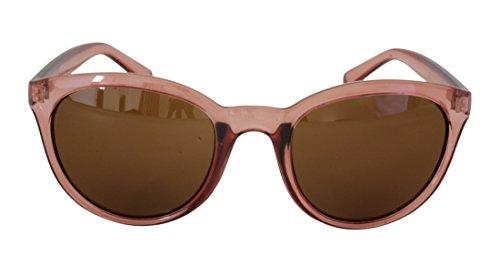 Foster Grant STU14336 FG112 Damen Abgerundete Full-Frame-Sonnenbrille Klar Rosa Kunststoff Rahmen & Arme Braun UV400 Objektive 100% UV-Schutz CAT 2