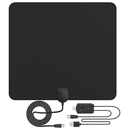 TV Antenne, HDTV Antenne Indoor für Fernseher 60-80 Meilen Reichweite mit Signal Verstärker Eingebauter Smart IC Chip 3 Meter Langs USB Kabel Unterstützung VHF/UHF/1080P HD/DVB-T/DVB-T2 HD usw