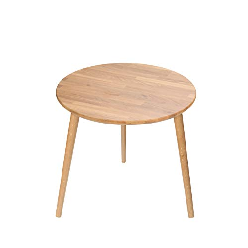 SemUp Table Basse Ronde en Bois au Design scandinave Kiarao, Bois Dense, Oak Legs, 47 cm Height