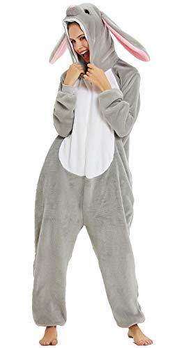 Adulto e bambino unisex unicorno tigre leone volpe tutina animale cosplay pigiama costume di carnevale di halloween fancy dress loungewear (coniglio, m altezza di 155-165 cm)