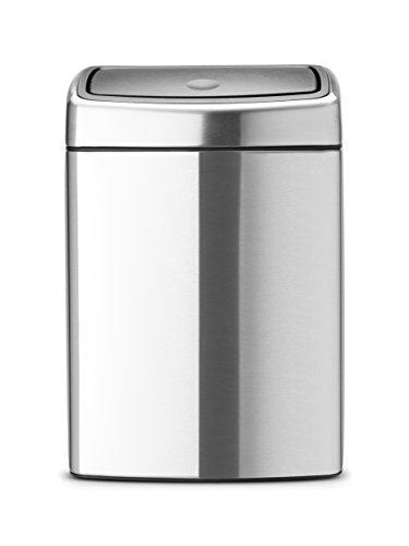Brabantia Touch Bin - Cubo de Basura Rectangular, 10 litros, Cubo Interior de plástico extraíble...