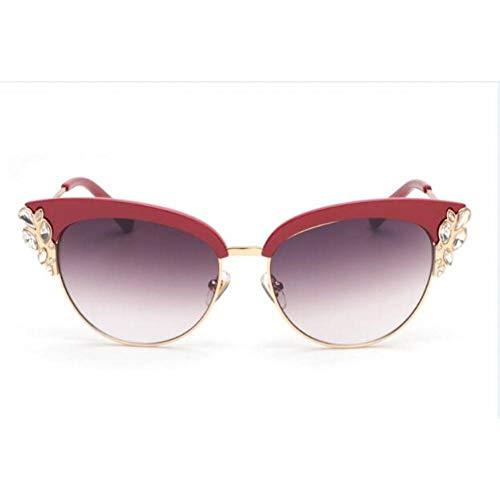 Siwen Sommer Cat Eye Sonnenbrillen Frauen Brillen Halbrandlose Strass Sonnenbrillen Cat Eye Spiegel,1