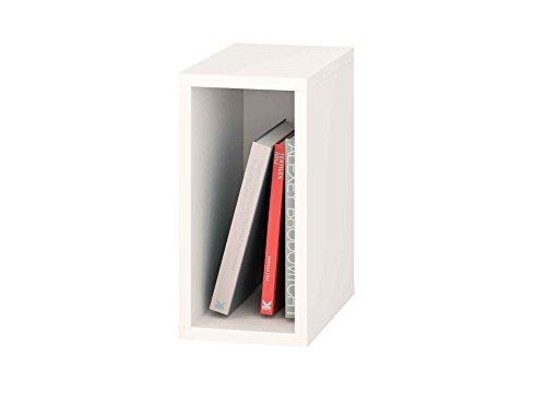 Samblo Mizu Cubo Apilable, Madera y Melamina, Blanco, 40x20x33 cm