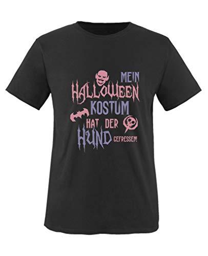 (Comedy Shirts - Mein Halloween Kostuem Hat der Hund gefressen - Mädchen T-Shirt - Schwarz/Rosa-Violett Gr. 86/92)