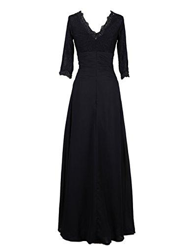 Dresstells, Robe de soirée Robe de cérémonie Robe de mère de mariée col en V manches 3/4 Gris