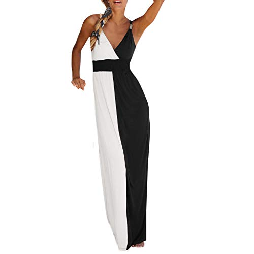 Floweworld Damen Kleider Frauen Lose Sommer Strand Kleider Mode V-Ausschnitt Patchwork Hohe Taille...