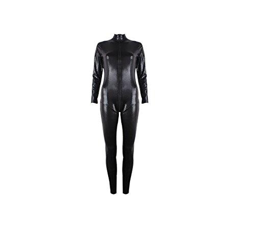 Mono completo de cuero sintético de alta calidad de GGTBOUTIQUE, para mujer, color negro Negro negro X-Large