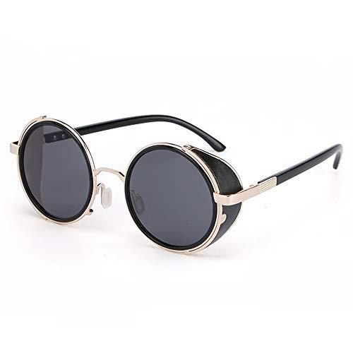 Hinyyee Steampunk Runde Sonnenbrille für Männer und Frauen Spiegel Retro-Stil Legierungsrahmen Harzlinse Farbfilm Brille (Color : Schwarz)