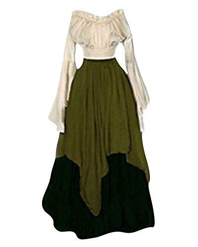 ZhuiKunA Cosplay Mittelalterliches Kostüm Women Lange Ärmel Renaissance-Kleid Grün ()