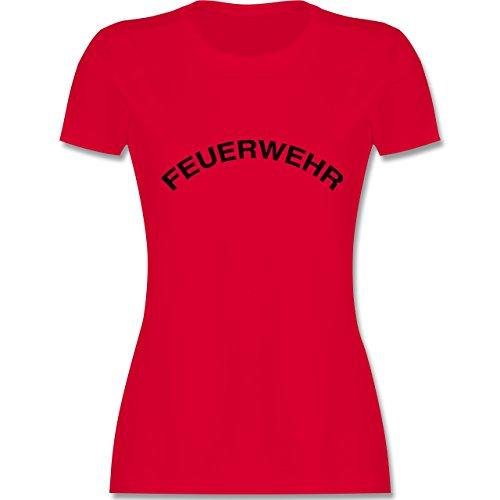 Feuerwehr - Feuerwehr Schriftzug - tailliertes Premium T-Shirt mit  Rundhalsausschnitt für Damen Rot