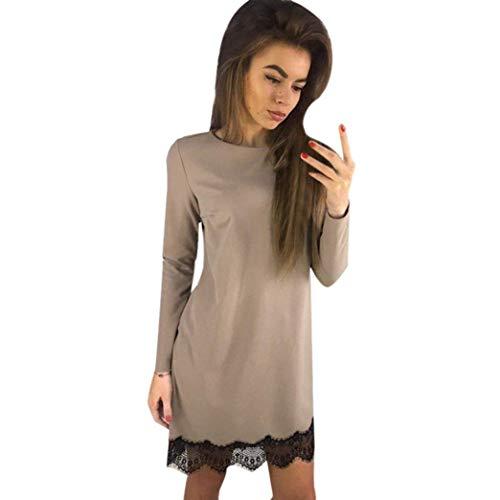 2017 Fashion Herbst Winter Herbst Kleid Frauen Feste Bluse Langarm Spitzenkleid Abendgesellschaft Mini Kleid (Farbe : Khaki, Größe : ()
