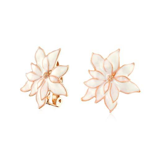 Creme Weiß Water Lily Blume Ohrclips Ohrringe Für Damen Nicht Durchstochene Ohren Rose Vergoldet Messing