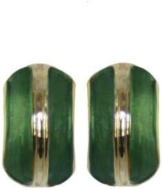 Elite verde/oro Clip en los pendientes del perno prisionero del esmalte con la caja de regalo