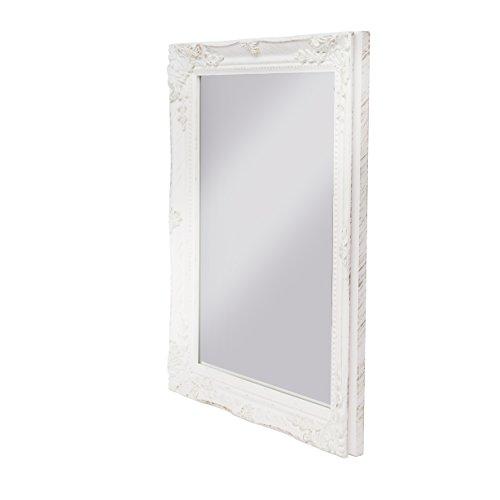 elbmöbel 37x47x3,5cm rechteckiger Wand-Spiegel, handgefertigter Vintage-Antik-Rahmen aus Holz, weiß, inkl. Befestigung (Licht Möbel Gold Bad)