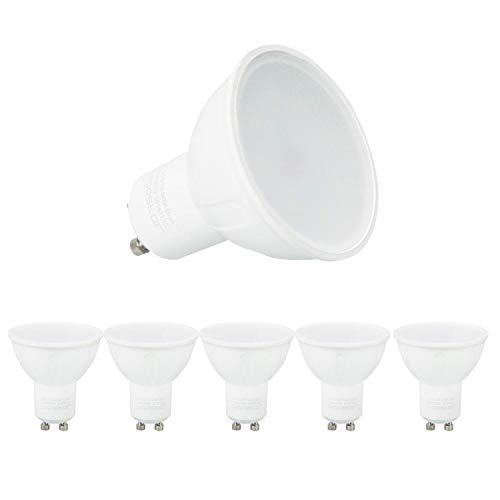 Aigostar - 8W GU10 Bombilla LED, Luz blanca fría 6400K, 600lm, 8W Equivalente a 60Watt Lámpara Incandescente,Paquete de 5 Unidades [Clase de eficiencia energética A+]