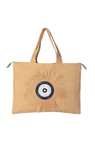 Evil Eye Stickerei Jute-Handtasche Strandtasche mit Reißverschluss Geschenktasche mit Kristallen und Quasten -
