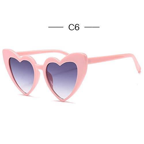 ACKJ Liebe Herz Sonnenbrillen für Frauen Retro Designer Cat Eye Sonnenbrille Damen Vintage 90er Jahre Rosa Brille Rot Flash Eyewear, C6