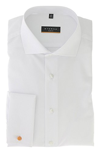 ETERNA long sleeve Shirt SLIM FIT Chambray uni Bianco