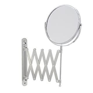 Axxentia Bathroom 282802 Magnifying Wall Mirror Chrome Round 17 cm Diameter 3 times Magnification 57 cm Extendible