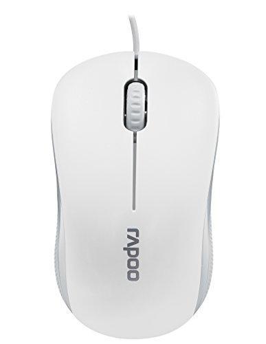 Rapoo N1130 kabelgebundene kompakte Maus (optischer 1000 DPI Sensor, 3 Tasten, gummiertes 2D Mausrad, Links-/Rechtshänder, 1,2 m USB Kabel) weiß