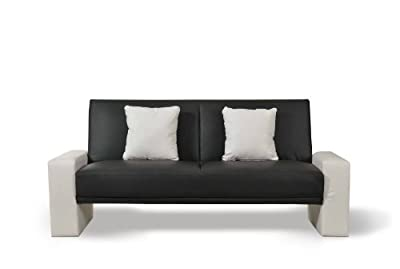 Supra Sofabed, Black & White Faux Leather, Seats up to 3 people