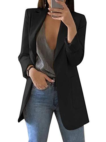 Minetom Damen Elegant Langarm Blazer Sakko Einfarbig Slim Fit Revers Geschäft Büro Jacke Kurz Mantel Anzüge Bolero mit Tasche A Schwarz DE 36