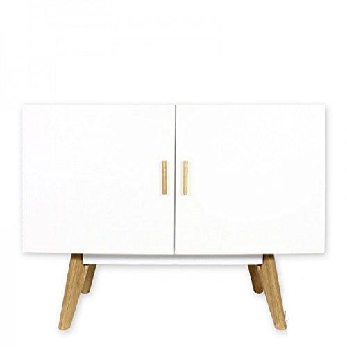 Bei mobili non Onorevoli–Credenza madia Buffet Bianco 2Ante 4piedi Quercia vintage
