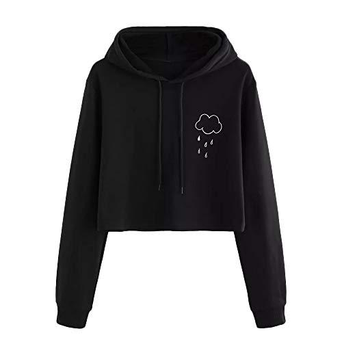 Hmeng Sweatshirt Pullover Fleece Drop Schulter Gestreiften Hoodie (Schwarz, S)