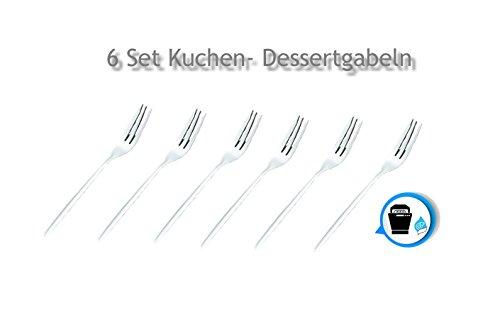 Kerafactum® - Gabel Set 6 Stück Dessertgabel Kuchengabel Edelstahl Gabelset Besteck - cake fork