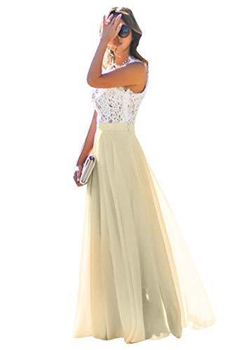 OMZIN Damen Party Kleid Abend Kleid Festlich Maxi Kleid Vintage Lang Kleid Gelb L -